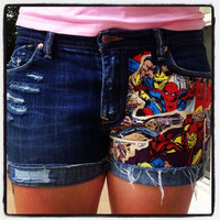 Comic Book Cutoff Upcycled Denim Shorts Spider by DesignedByTwo