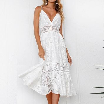 good quality Summer Spaghetti Strap Wrapped Chest Women's Dress 2018 Sexy White Lace Backless Dress Women's Loose V-neck Midi Dresses