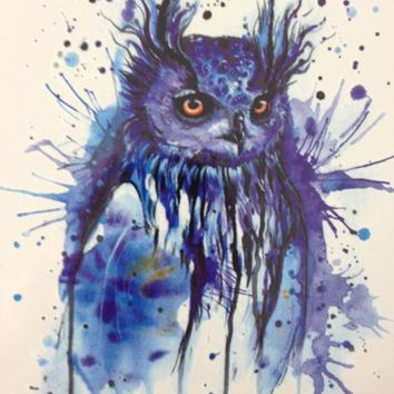 2016 HOT SALE 21 X 15 CM Blue OWL Sexy Cool Beauty Tattoo Waterproof Hot Temporary Tattoo Stickers#40