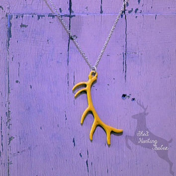 Elk Antler Necklace Mustard Yellow / Antler Necklaces