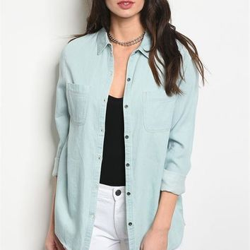 Light Chambray Button Top