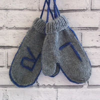 hand knitted warm mittens, chunky knit mittens, grey mittens, wool mittens, winter fashion, UK seller, ready to ship