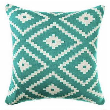 ON SALE Pillow Cover, Aztec Pillow Cover, 18 x 18 Turquoise Pillow Cover, Teal Tribal Pillow Cover, Throw Pillow, Toss Pillow, Sofa Pillow
