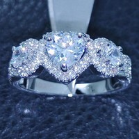 Victoria Wieck Heart Three-stone 10KT Gold Filled White AAA CZ simulated stones Wedding Engagement Women Band  Ring Size 5-10