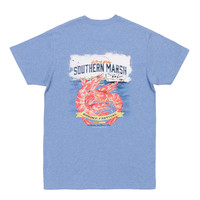 Shrimp Festival Tee in Washed Blue by Southern Marsh