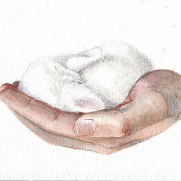 HM049 Original art watercolor painting Hands with Bunny by Helga McLeod