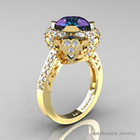 Modern Edwardian 14K Yellow Gold 3.0 Carat Alexandrite Diamond Engagement Ring, Wedding Ring Y404-14KYGDAL