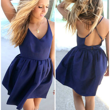 Feeling Flirty Navy Babydoll Criss Cross Back Party Dress