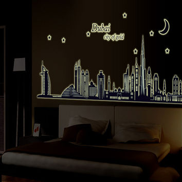 New product Luminous dubai silhouette sitting room bedroom home decoration wall stickers in the wall to stick on the wall SM6