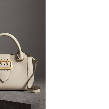 The Small Buckle Tote in Grainy Leather in Limestone - Women | Burberry United States