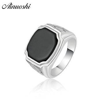 AINOUSHI 925 Sterling Silver Men Wedding Engagement Ring Black Solitiare Geometric Male Silver Birthday Party Ring Gift Jewelry