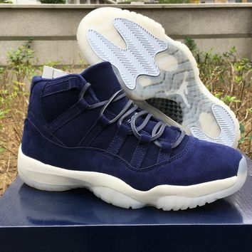 "Air Jordan 11 PRM ""Jeter"" Blue Suede 351792-147 US7-13"
