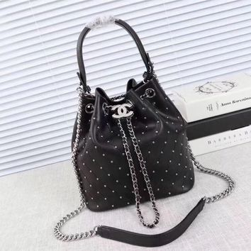 Black Grey 2018 New Chanel Caviar Skin Large Shoulder Bag Bucket Bag Backpack Bag avelling