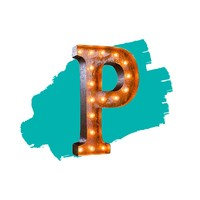 """24"""" Letter P Lighted Vintage Marquee Letters (Rustic)"""