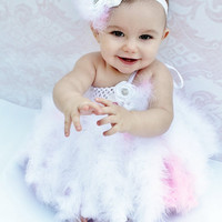 White and Pink Feather Tutu Dress, Infant, Newborn, Baby, Toddler, birthday, christmas, red, green, pageant, 0-3, 3-6, 6-9, 9-12, 12-18, 2t