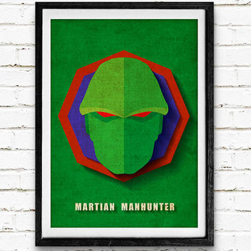 Martian Manhunter Watercolor Art Print Poster, DC Comics Superhero, Nursery Room Wall Art, Home Decor, Not Framed, Buy 2 Get 1 Free