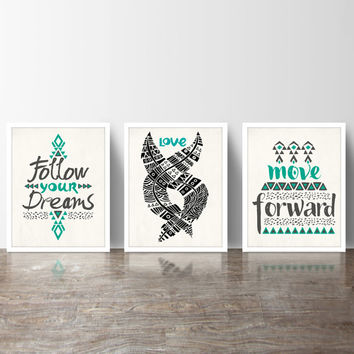 Inspirational Typography Quote Set of 3 Art Prints in Black, White & Teal – 8x10 Print or 11x14 Poster