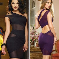 Sexy Bandage Dress New Sleeveless Mesh Patchwork Hollow Out Pencil Bodycon Dress Female Dresses for Club Party KH964563