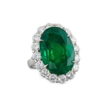 Diana M. Jewels Faceted Oval Emerald & Diamond Ring in Platinum