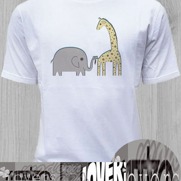 elephant and giraffe TShirt Tee Shirts Black and White For Men and Women Unisex Size