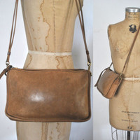 RARE 1970s Coach Bag / British tan brown leather Purse