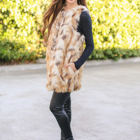 Take It From Me Fur Vest - Cream and Brown