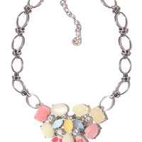 Chain necklace with faceted jewel stones