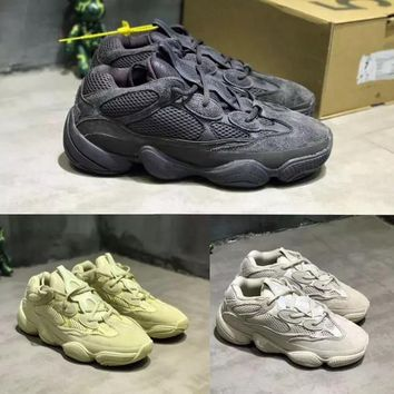 Adidas Yeezy Runner Desert Rat 500 Mens Designer Shoes Running Sneakers SUPPER MOON YELLOW 500 BLUSH UTILITY BLACK Cow Leather Sport Casual Shoe