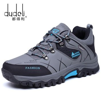 DUDELI  Winter Men Mountain Hiking Shoes Athletic Leather Hunting Boots Outdoor Sport Antislip Climbing Trek Sneakers Big Size