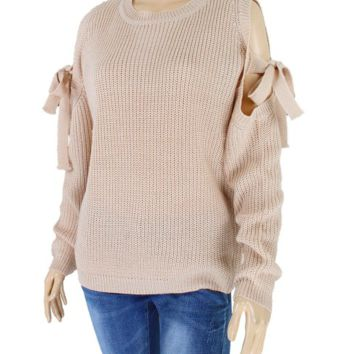 Women's Open Arm Bow Sweater