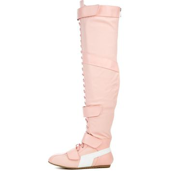 Pink Lace Up Strap OTK Thigh High Flat Sneaker Boots