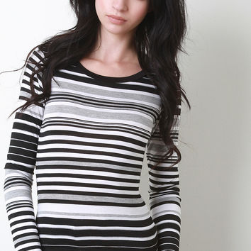 Horizontal Stripe Long Sleeve Top