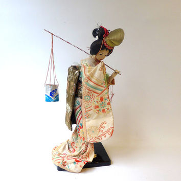 Antique mid century Japanese courtier geisha doll