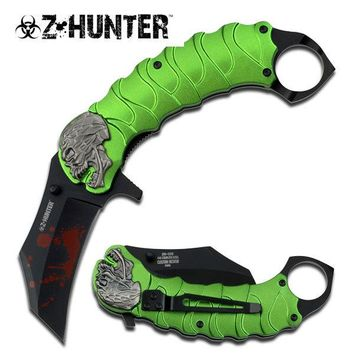 Zombie Tactical Green Assisted Opening Knife With Finger Ring