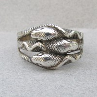 Men's Vintage 1980's Three SNAKE Goth Biker Band Ring, Size 13