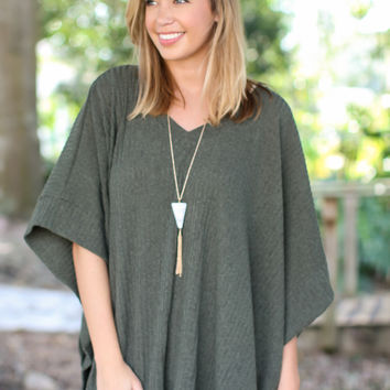 No Strings Attached Poncho - Olive