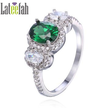 Lateefah Fashion Oval Cut Created Emerald Female Rings for Women May Birthstone Ring Three Stones Green Cubic Zirconia Ring Anel