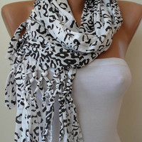SALE SALE - White and Black Leopard Scarf