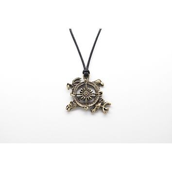 Compass Unisex Necklace with Rope