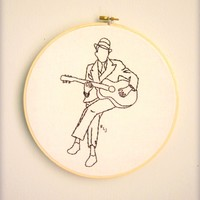 Supermarket: original embroidery hoop wall art - ROBERT JOHNSON - music legends series from  badgrammar