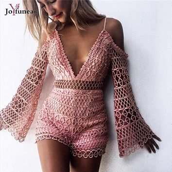 Sexy Women off Shoulder  Lace Crochet rompers 2017 Hollow Out Overalls Club wear Strap Zipper Back Macacao Feminino overalls