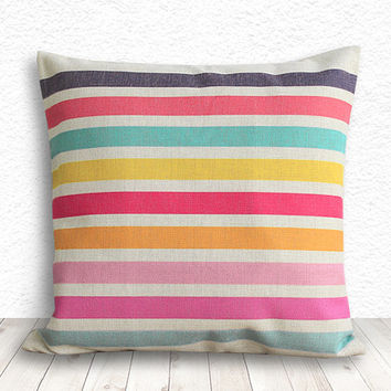 Geometric Pillow Cover, Stripe Pillow Cover, Pillow Cover, Linen Pillow Cover, 18x18 - Printed Stripe - 098
