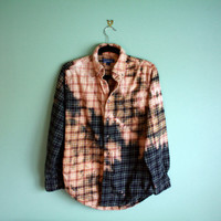 Bleached ombre flannel shirt ONE OF A KIND