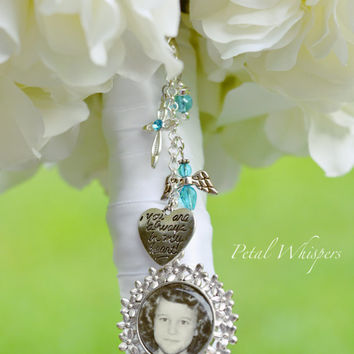 Bouquet Picture Charm - Bridal Bouquet Photo Charm - Turquoise Bouquet Picture Holder - Wedding Bouquet Memorial Charm - Bridal Gift