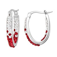 Georgia Bulldogs Crystal Sterling Silver Inside Out U-Hoop Earrings (Red)