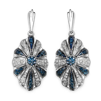 0.60 Carat Genuine Blue Diamond & White Diamond .925 Sterling Silver Earrings