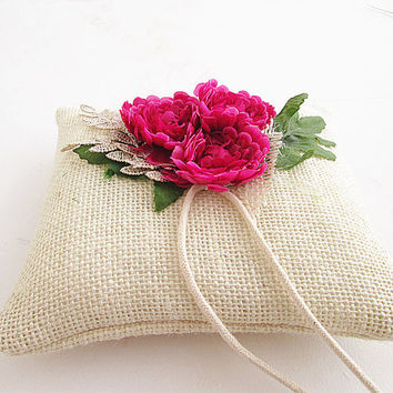 Flower Burlap Ring Pillow , Eco Burlap Wedding Pillow, Natural Wedding Ring Pillow Flower.