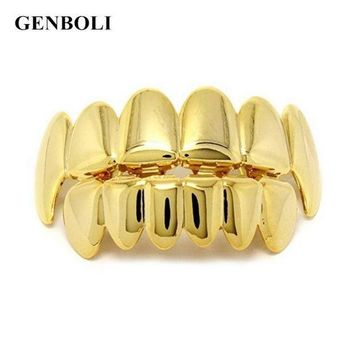 ac PEAPO2Q GENBOLI Gold Silver Colors Hip Hop Teeth Grillz Caps Top & Bottom Bling Teeth Silicone Set for  Vampire Party Gifts Body Jewelry