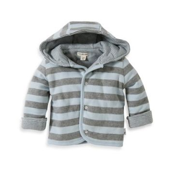 Burt's Bee's Baby™ Organic Cotton Reversible Quilted Jacket in Grey/Blue Stripe