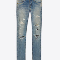 SAINT LAURENT ORIGINAL LOW WAISTED SKINNY JEAN IN BLUE TRASH 50S DENIM | YSL.COM